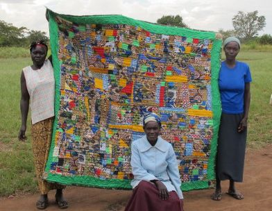 """Our beautiful """"Crazy"""" quilt made from remnants of previous products."""